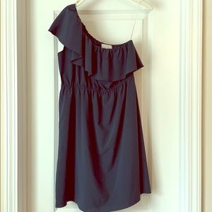 Navy One Shoulder Dress with Ruffle Neck L